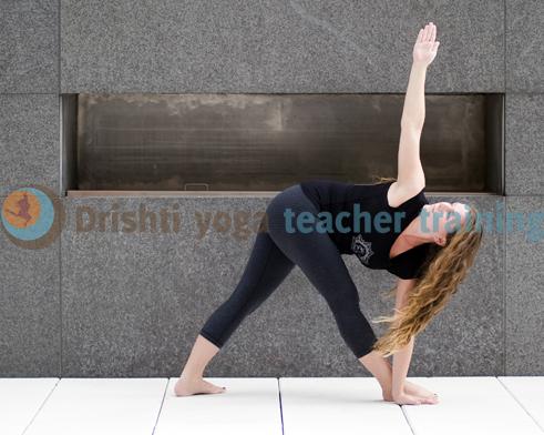 Revolved Triangle yoga pose parivrtta trikonasana2